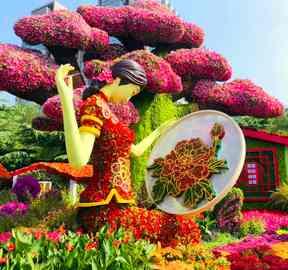 北京菊花造型立体花坛景观,宛如仙境