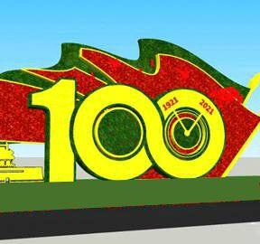 绿植建党100周年园艺仿真绿植绿雕造型_花坛花卉造型设计方案